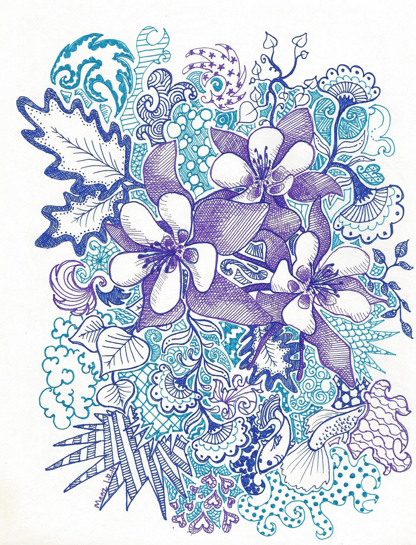 Columbine Flower Line Drawing : January ducky doodles