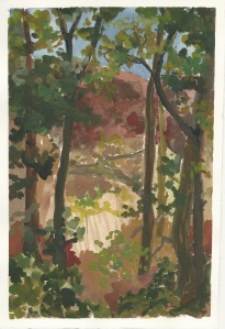Guache (this is a paint similar to watercolor)on paper. Painted plein air style.