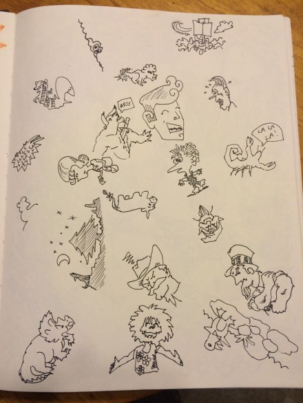 This is MrE's and my second game of Squiggles. I did most of the animals and Mike did most of the people.