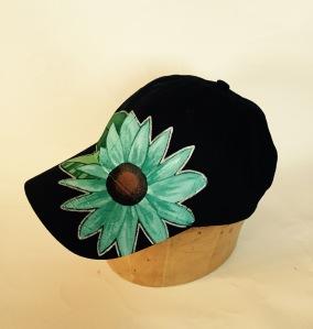 teal flower hat 2